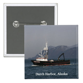 Early Dawn, Crab Boat in Dutch Harbor, AK Button