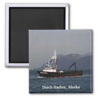 Early Dawn, Crab Boat in Dutch Harbor, AK 2 Inch Square Magnet