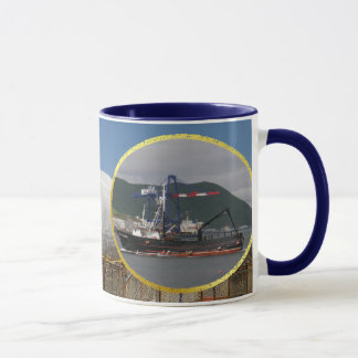 Early Dawn, Crab Boat in Dutch Harbor, Alaska Mug