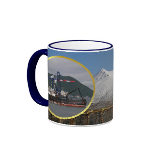 Early Dawn, Crab Boat in Dutch Harbor, Alaska Ringer Mug