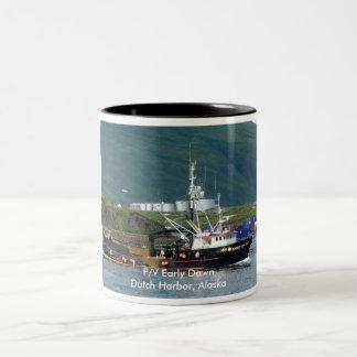 Early Dawn, Crab Boat in Dutch Harbor, Alaska Two-Tone Coffee Mug