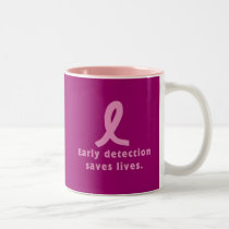 Early Detection Saves Lives Breast Cancer Awarenes Two-Tone Coffee Mug