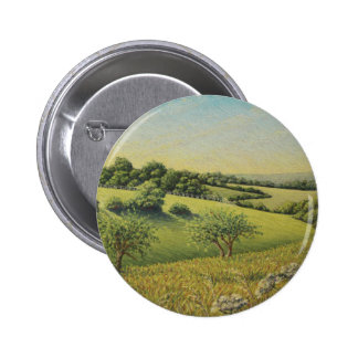 Early Evening Sun, Epsom Downs, Surrey Pastel 2 Inch Round Button