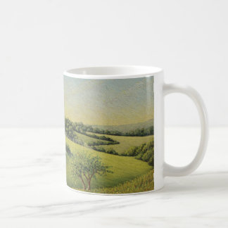 Early Evening Sun, Epsom Downs, Surrey Pastel Coffee Mug