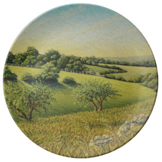 Early Evening Sun, Epsom Downs, Surrey Pastel Dinner Plate