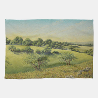 Early Evening Sun, Epsom Downs, Surrey Pastel Hand Towel