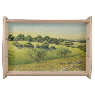 Early Evening Sun, Epsom Downs, Surrey Pastel Serving Tray