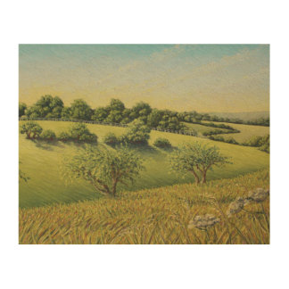 Early Evening Sun, Epsom Downs, Surrey Wood Wall Art