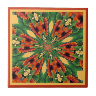 Early Fall Flowers Cheery Floral Motif Pattern Ceramic Tile