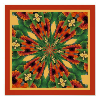 Early Fall Flowers Cheery Floral Motif Pattern Poster