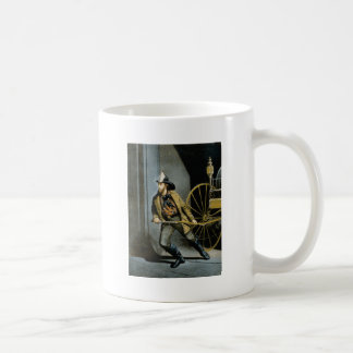early fireman in the city coffee mug