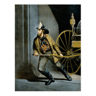 early fireman in the city postcard