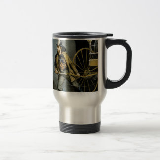 early fireman in the city travel mug