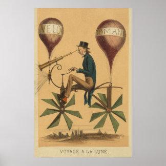 Early FLIGHT Illustration Balloon Cycle Art Poster