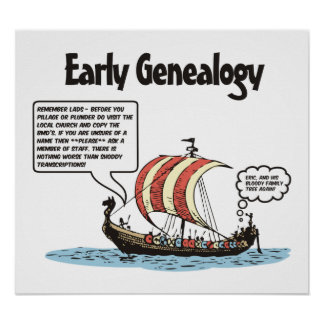 Early Genealogy Cartoon Poster