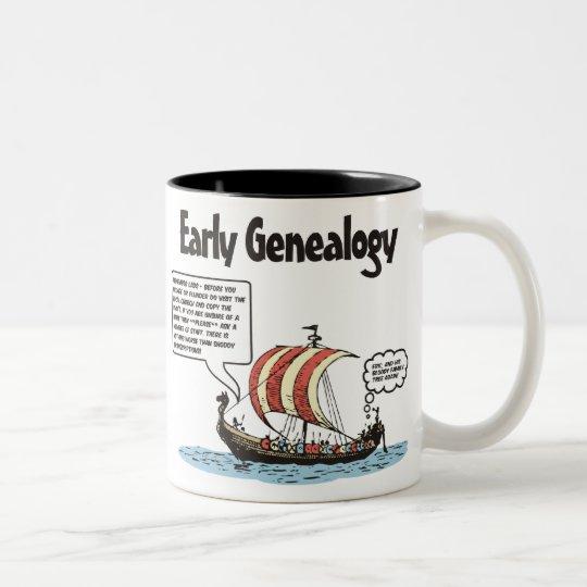 Early Genealogy Cartoon Two-Tone Coffee Mug
