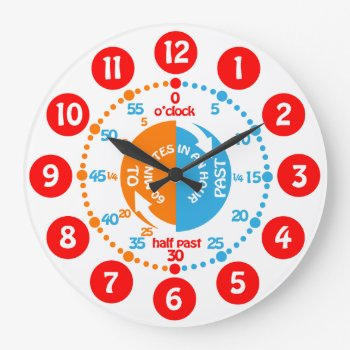 Early Learning Learn To Tell Time Wall Clock by Mylittleeden at Zazzle