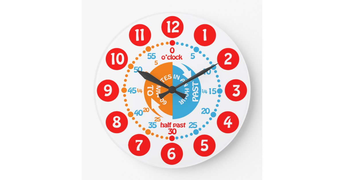 Early learning learn to tell time wall clock | Zazzle