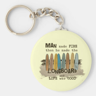 Early Man Surfing Humor with Longboards Keychain