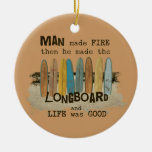 Early Man Surfing Humor with Longboards Christmas Tree Ornaments