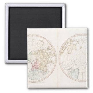 Early Map 1790 of Northern Southern Hemispheres 2 Inch Square Magnet