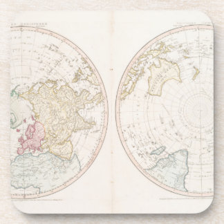 Early Map 1790 of Northern Southern Hemispheres Beverage Coaster
