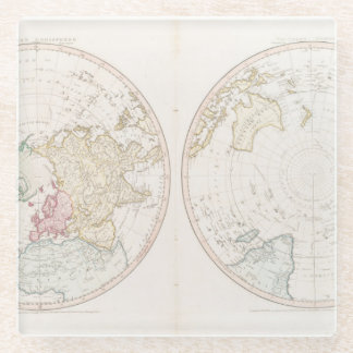 Early Map 1790 of Northern Southern Hemispheres Glass Coaster
