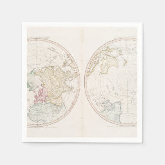 Early Map 1790 of Northern Southern Hemispheres Paper Napkin