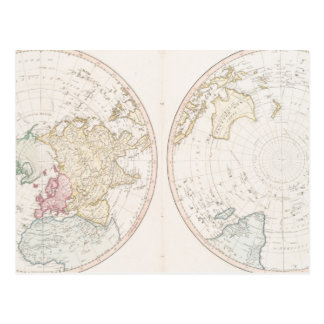 Early Map 1790 of Northern Southern Hemispheres Postcard