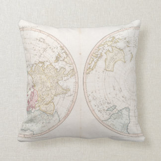 Early Map 1790 of Northern Southern Hemispheres Throw Pillow