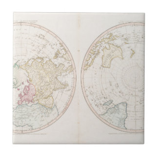 Early Map 1790 of Northern Southern Hemispheres Tile