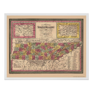 Early Map Of Tennessee 1850 Poster