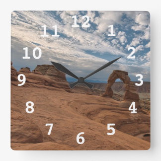 Early Morning at Delicate Arch Square Wall Clock