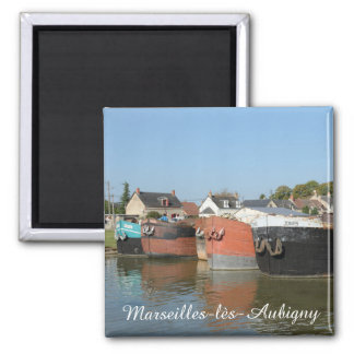 Early morning at Marseilles-lès-Aubigny 2 Inch Square Magnet