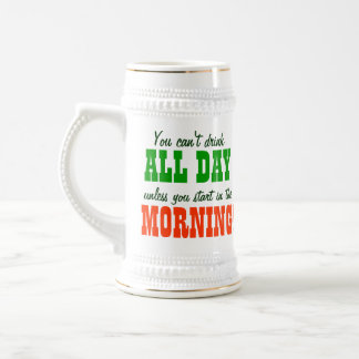 Early Morning Beer Drinking 18 Oz Beer Stein