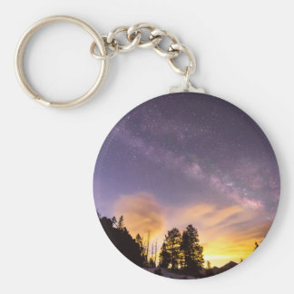 Early Morning Colorful Colorado Milky Way View Basic Round Button Keychain