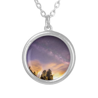 Early Morning Colorful Colorado Milky Way View Round Pendant Necklace