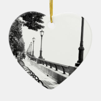 Early Morning in Manhattan Double-Sided Heart Ceramic Christmas Ornament