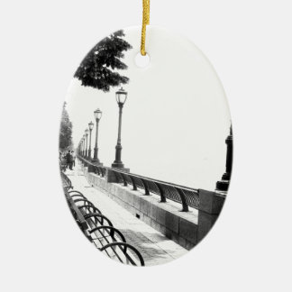 Early Morning in Manhattan Double-Sided Oval Ceramic Christmas Ornament
