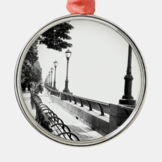 Early Morning in Manhattan Round Metal Christmas Ornament