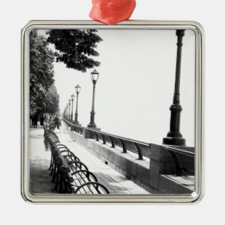 Early Morning in Manhattan Square Metal Christmas Ornament