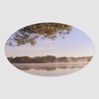 Early Morning Lakeside Oval Sticker