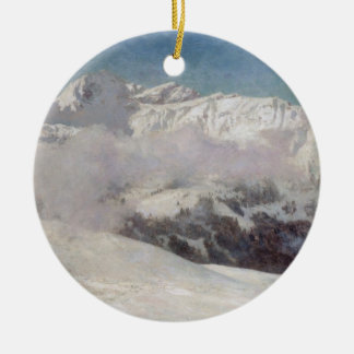 Early Morning Mist in the Mountains, Shilthorn (oi Double-Sided Ceramic Round Christmas Ornament