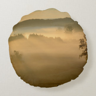 Early morning mist round pillow