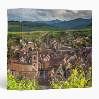 Early morning overlooking village of Riquewihr 3 Ring Binder