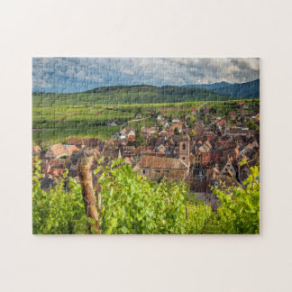 Early morning overlooking village of Riquewihr Jigsaw Puzzle