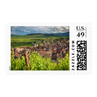 Early morning overlooking village of Riquewihr Postage Stamp