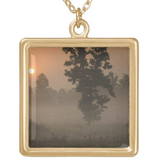 Early morning, rising sun and ground fog square pendant necklace
