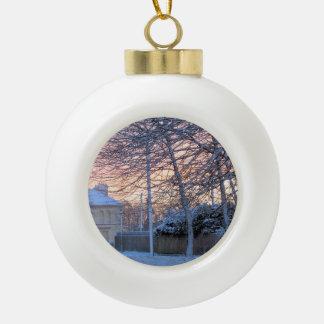 Early Morning Snow Ceramic Ball Christmas Ornament
