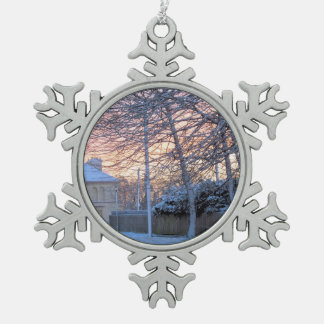 Early Morning Snow Snowflake Pewter Christmas Ornament